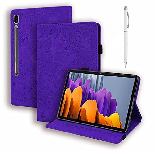 DYGG Compatible con Funda Samsung Galaxy Tab A6 10.1 Pulgada 2016 (SM-T580/T585) Portátil Funda de Tableta Cuero PU+TPU Tablet Sleeve Bag Funda Protectora,púrpura