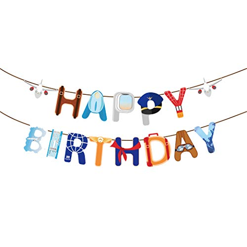 Airplane Happy Birthday Party Banner for Plane Theme Birthday Party Supplies