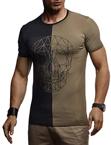 Leif Nelson Herren Sommer T-Shirt Rundhals-Ausschnitt Slim Fit Baumwolle-Anteil Basic Männer Totenkopf T-Shirt Crew Neck Hoodie-Sweatshirt Kurzarm lang LN4670 Schwarz-Khaki Medium
