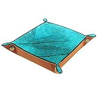 レザーバレットトレイ多目的収納ボックス トレイオーガナイザー小さなアクセサリーの保管に使用,青い葉