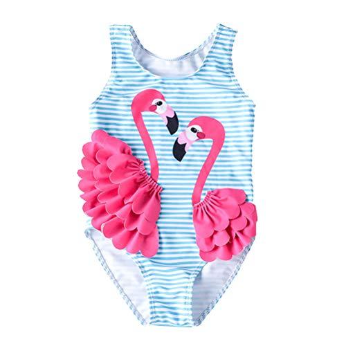 FENICAL Cartoon-Badeanzug Flamingo Bademode Baby Girl Schnell trocknender einteiliger Badeanzug (XXL, geeignete Höhe: 100-110 cm)
