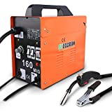 STEGODON MIG 160 Welder Portable Flux Core Wire Automatic Feed 160 Welder Machine Welding w/Free Mask ARC 110V with Electrode Holder,Work Clamp, Input Power Adapter Cable and Brush(Orange)