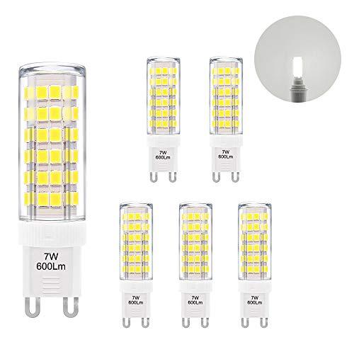 Lampade Lampadine Piccola Attacco G9 GU9 a LED 7W 600Lm Luce Fedda 6000K Sostituire Lampadina Alogena G9 60W AC220-240V Lot di 6 di Enuotek