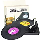 Funny Retro Vinyl Record Coasters for Drinks with Vinyl Record Player Holder for Music Lovers,Set of 6 Conversation Piece Sayings Drink Coaster,Wedding Registry Gift Ideas,Housewarming Hostess Gifts