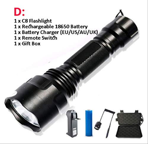 120000 Lumens Tactical Flashlight W// 2 26650 Rechargeable Batteries /& Charger FS