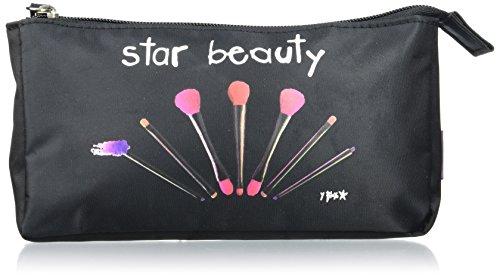 Incidence Paris 61502 Trousse à maquillage Star beauty Noir Nylon Fermeture zip, 20 cm, Noir