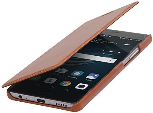 StilGut Book Type Hülle, Hülle Leder-Tasche für Huawei P9 Plus. Seitlich klappbares Flip-Hülle aus Echtleder für das Original Huawei P9 Plus, Cognac