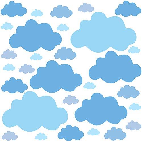 PREMYO 30 Nubes Pegatinas Pared Infantil - Vinilos Decorativos Habitación Bebé Niños - Fácil de Poner Azul Pastel