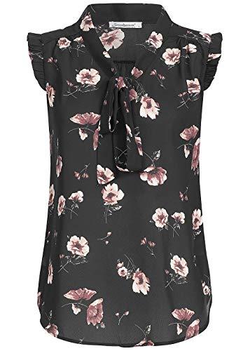 Seventyseven Lifestyle Damen Top, Blusen Shirt Blumen Print Schleife schwarz rosa, Gr:S