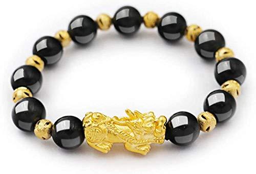 HYJMJJ Pulsera del Grano de Feng Shui Pulsera con Oro Pi Xiu/Pi Yao Lucky Rico Amuleto Brecelet Puede traer Buena Suerte