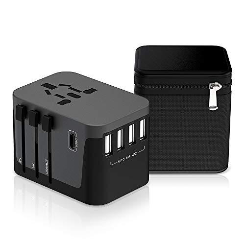 Reiseadapter MustWin Universal Reisestecker 5,6A Travel Adapter Weltweit mit 4 USB +Type C +AC Steckdosen +Doppelsicherung +Tasche für Internationale 224+ Länder Europa UK USA Australien China USW