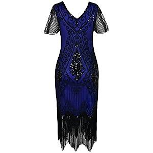 PrettyGuide Women's 1920s Dress Art Deco Sequin Fringed Flapper Dress L Black Blue