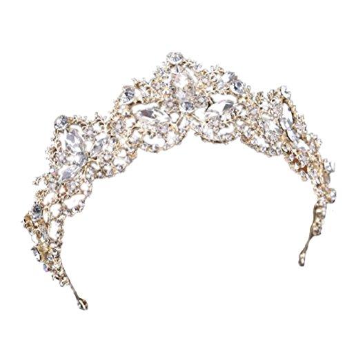 Ubekannt Hochzeit Braut Kristall Perlen Tiara Diadem Strass Krone Gold Haarschmuck Kommunion Haarreif