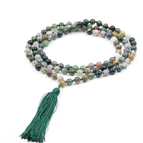 OVALBUYJ.Fée Ovalbuy - Rosario de meditación con Cuentas tibetanas, budistas, 6 mm, ágata, 108 Japa Mala, Collar de meditación
