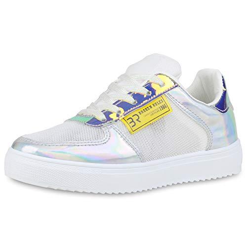 SCARPE VITA Damen Sneaker Low Metallic Turnschuhe Schnürer Bequeme Holographic Schuhe Glitzer Freizeitschuhe 190747 Weiss Silver Gelb 36
