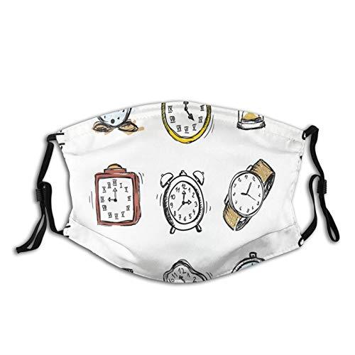 Pañuelo multifuncional para mujer y hombre, con impresión 3D, transpirable, protector contra el polvo, un surtido de relojes vintage y relojes garabateados, ilustración dibujada a mano