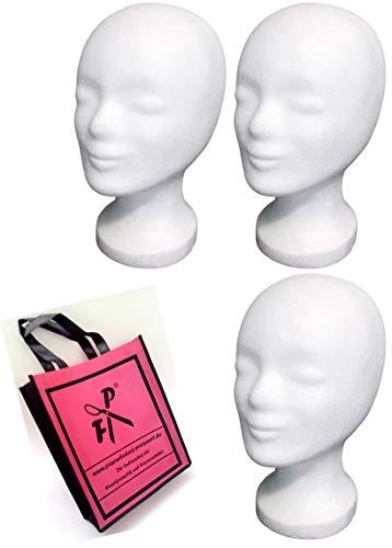 3 x FP Styroporkopf Standard - Marken-Qualität aus deutscher Herstellung + FP Shopper - TOP Qualität von deutschem Friseurbedarf-Fachhändler! (weiss)