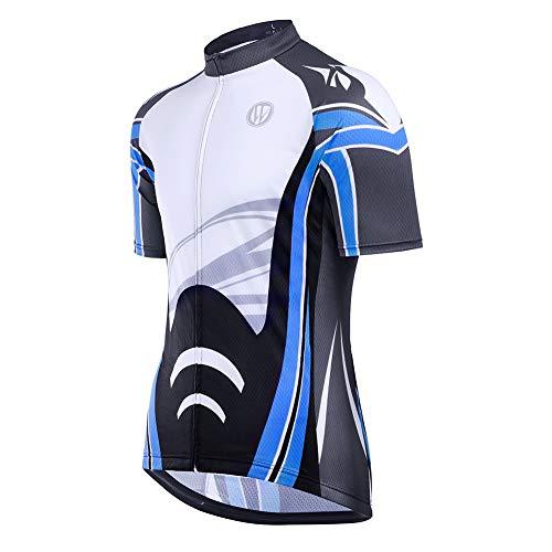 Fitsund Fahrrad Trikots Herren Schnell Trocknend Sommer Radtrikot Fahrradshirt (L, Blau)