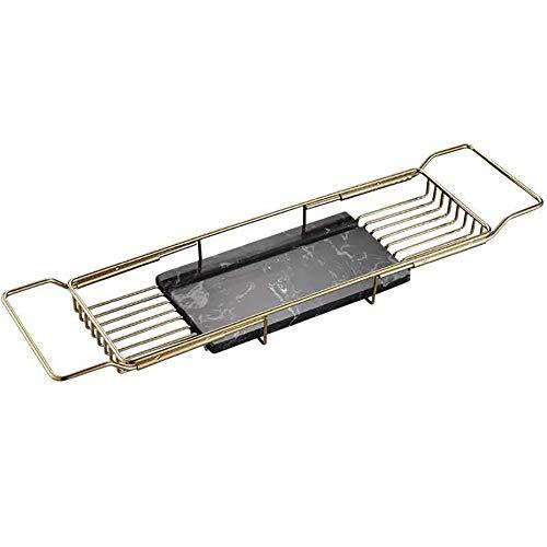 Badkuip Caddy Tray, stabiliteit antislip badkuip van marmer, intrekbaar anti-slip multifunctionele legplank, voor shampoo zeep scheerapparaat
