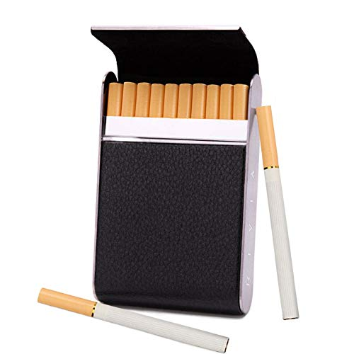 RIVIA Classic Leather Cigarette Carrying Case for Men and Women - Superslim | Superkings 100s Sizes (Black)