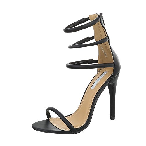 Ital-Design High Heel Sandaletten Damen-Schuhe High Heel Sandaletten Pfennig-/Stilettoabsatz High Heels Reißverschluss Sandalen & Sandaletten Schwarz, Gr 36, B506Yh-Pb-