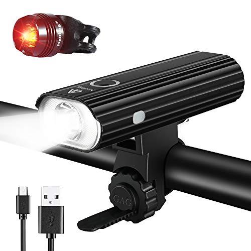 NestlingLuz Bicicleta, Luces Bicicleta Recargable USB, Lámpara Bicicleta LED Impermeable, 800 Lúmenes Súper Potente, 5 Modos Iluminación, Luces Bicicleta Delantera y Trasera Kit