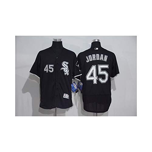 YQSB Jersey Baseball Weißer Sox-Baseballanzug 45 Jordan Kurzarm-Stickerei,Blue2,Men-XL