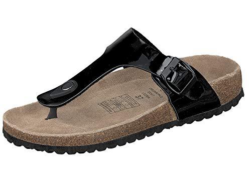 Supersoft Damen Hausschuhe Zehentrenner Pantoffel 274-513 Black (39 EU)