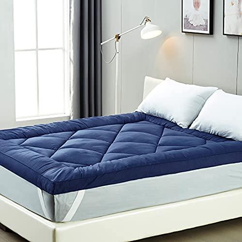 IMISSYOU Bed Topper, morbido coprimaterasso in microfibra, 6 cm, ipoallergenico e resistente agli acari, lavabile in versione di prova per 40 notti (blu, 160 x 200 cm)