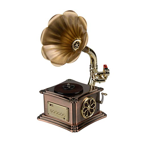 Mini Vintage Retro Phonograph Gramophone Vinyl Record Player Stereo Speakers 3.5mm Audio Blue Tooth 4.2 Aux-in/USB/FM