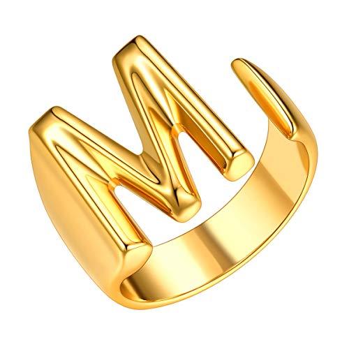 Joyerías Mujeres con Letra Inicial M Anillos Dorados de Cobre Chapado en Oro Amarillo Joyerías Modernas de Nombres Personales Anillos Hip Hop de Dedos