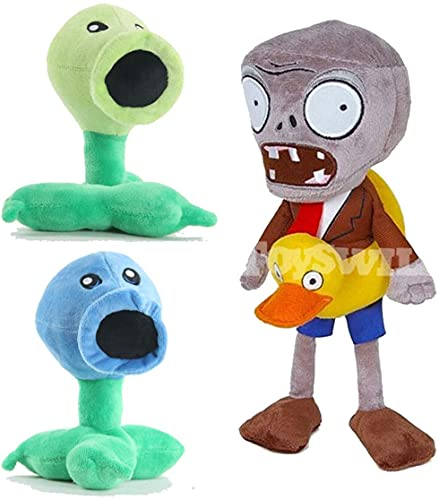 TavasHome 3 Pieces of Plants vs Zombies Plush Toy PVZ Stuffed Soft Game Doll Funny Gift, Comes w/ PVC Kernel-Pult