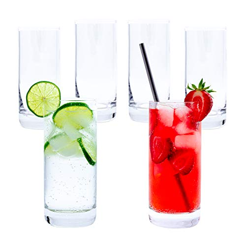Highball Glasses (Set of 6) – Premium Clear Water Glasses, Glass Cups Set for Cocktails, Water, Juice, Beer, Mojito or Whiskey – 12oz Drinking Glasses Set for the Home, Catering Events or Party…