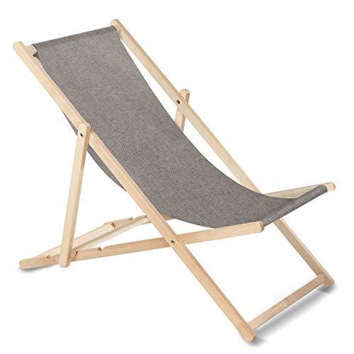 GreenBlue Liegestuhl Sonnenliege Klappbar aus Buchholz ohne Armlehne Sonnenliege Gartenliege Liege (Grau Melange)