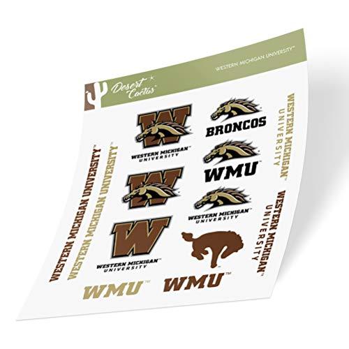 Western Michigan University WMU Broncos Sticker Vinyl Decal Laptop Water Bottle Car Scrapbook (Type 2 Sheet)
