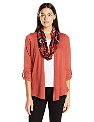 Notations Women's Printed 3/4 Tab Sleeve Cardigan