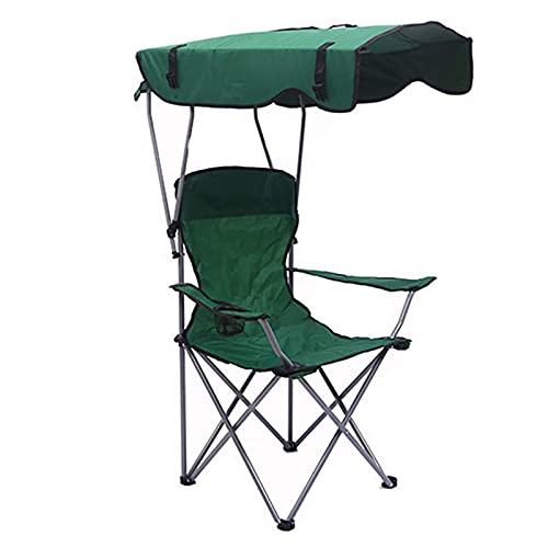 Sillas de Campamento con Silla de Toldo de Sombra, Reclinable Plegable, Playa Al Aire Libre Ajustable Sombrilla de Viaje de Sombrilla Ligera, Rojo conveniente/Green