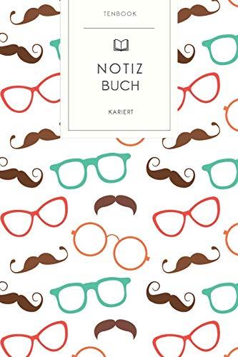 Notizbuch kariert: Bunte Hipster Brillen Muster. Tagebuch, Bullet Journal, Handlettering, Skizzenbuch oder Erfolgsjournal. Kariert 120 Seiten. Soft Cover 6x9 Zoll, ca. DIN A5 15x22cm.
