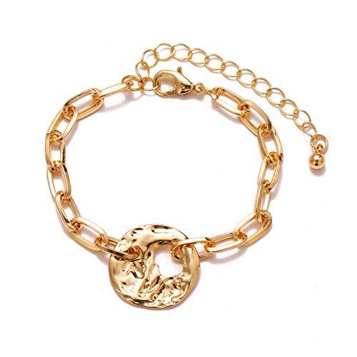 Hermosamente Pulsera de la cadena de la aleación de la perla de la moda Pulsera de la cadena gruesa para las mujeres del encanto de la perla del corazón de la perla del corazón del brazalete de la joy