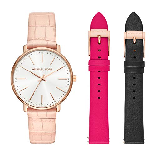 Michael Kors Damen Analog Quarz Uhr mit Leder Armband MK2775