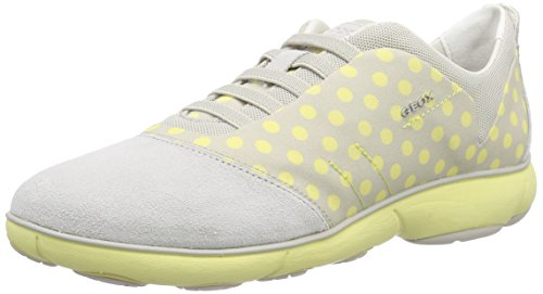 Geox Geox D NEBULA C, Damen Sneakers, Mehrfarbig (OFF WHITE/LT YELLOWC1Q2M), 36 EU