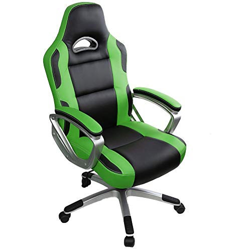 IntimaTe WM Heart Gaming Chairs,Ergonomic Computer Office Chair for Adults and Kids,Adjustable Recliner Chair Pc Desk Swivel Leather Chair with Arms for Home,Green