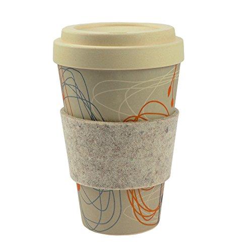 ebos Bambus Coffee-to-Go-Becher   Schraubdeckel, Griffring aus Wollfilz, Kaffee-Becher, Trink-Becher, wiederverwendbar, umweltfreundlich, spülmaschinengeeignet, versch. Designs (Kringel und Blüten)