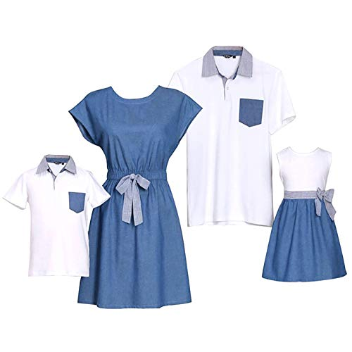 PopReal Short Sleeve Cotton T-Shirt and Bowknot Dress Family Matching Outfits,Boy-white,BOY-3T