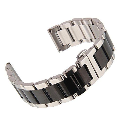 Beauty7 24mm Glänzend Schwarz/Silber Edelstahl Uhrenarmband Uhrband mit Faltschließ Schnalle ohne Zubehör