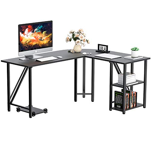 """Bizzoelife 59""""x55"""" Large L-Shaped Corner Computer Desk, Modern Home Office PC Laptop Gaming Table with CPU Stand and Bookshelf, Wood & Metal Teens Writing Study Workstation for Space-Saving (Black)"""