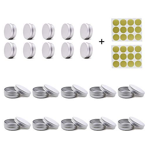 20 Stück 30ML+60ML Kleine Aluminiumbox Set,Aluminium Kosmetik Box Runde Aluminiumdosen Metalldosen,für Lotion, Creme, Masken, Mini-Kerzen, Kosmetik mit 2 Stücke Runde Aufkleber(Silber,30ml+60ml)