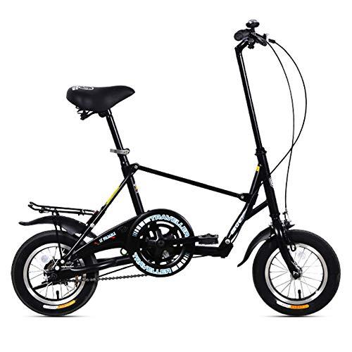 LYTLD Bicicletta Pieghevole da 12 Pollici, Adulto Uomo Donna Leggera Bici da Cittagrave; Pieghevole, Single Speed Elaio in Acciaio al Carbonio Biciclette