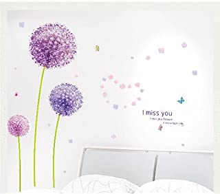 AAA+A Decoración del hogar Pared Vinilo Adhesivo Adhesivos Arte Mural, Color Morado de Mariposas y Flores