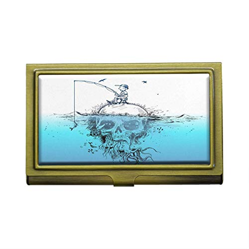 Visitenkartenhalter/Visitenkartenhalter, Motiv Survival Fisherman auf Unterwasser-Totenkopf, Metall, Bronze, Edelstahl